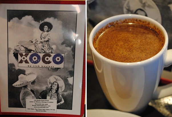 Xoco menu and an Aztec hot chocolate drink with chile and allspice