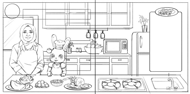 Kitchen Drawing For Kids