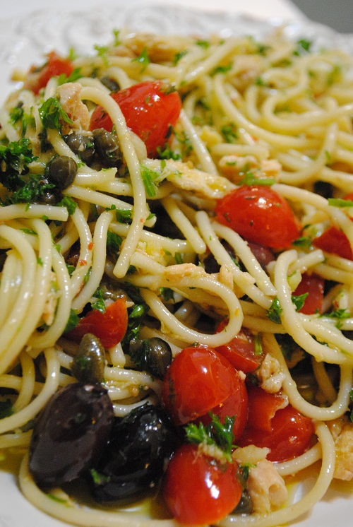 Tuna Pasta with Olives, Capers & Tomatoes - My Halal Kitchen by Yvonne ...